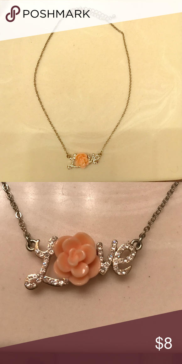 "Love necklace Love necklace with flower as the ""O"".  Lobster clasp. Only worn a handful of times. ⭐️make an offer ⭐️ Jewelry Necklaces"