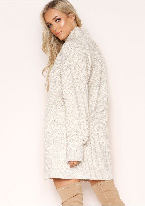 Amie Beige Chunky Knit Jumper Dress #chunkyknitjumper