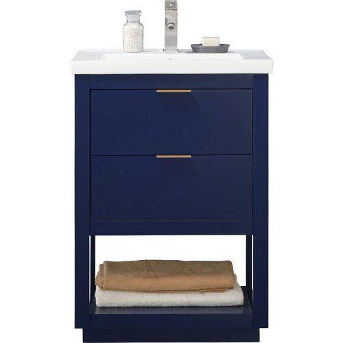 Design Element 24 Inch Klein Single Sink Bathroom Vanity Blue