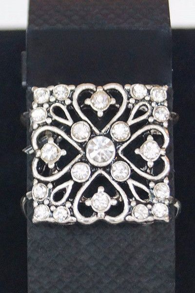 Crystal Silver Square Fitfashions Charm