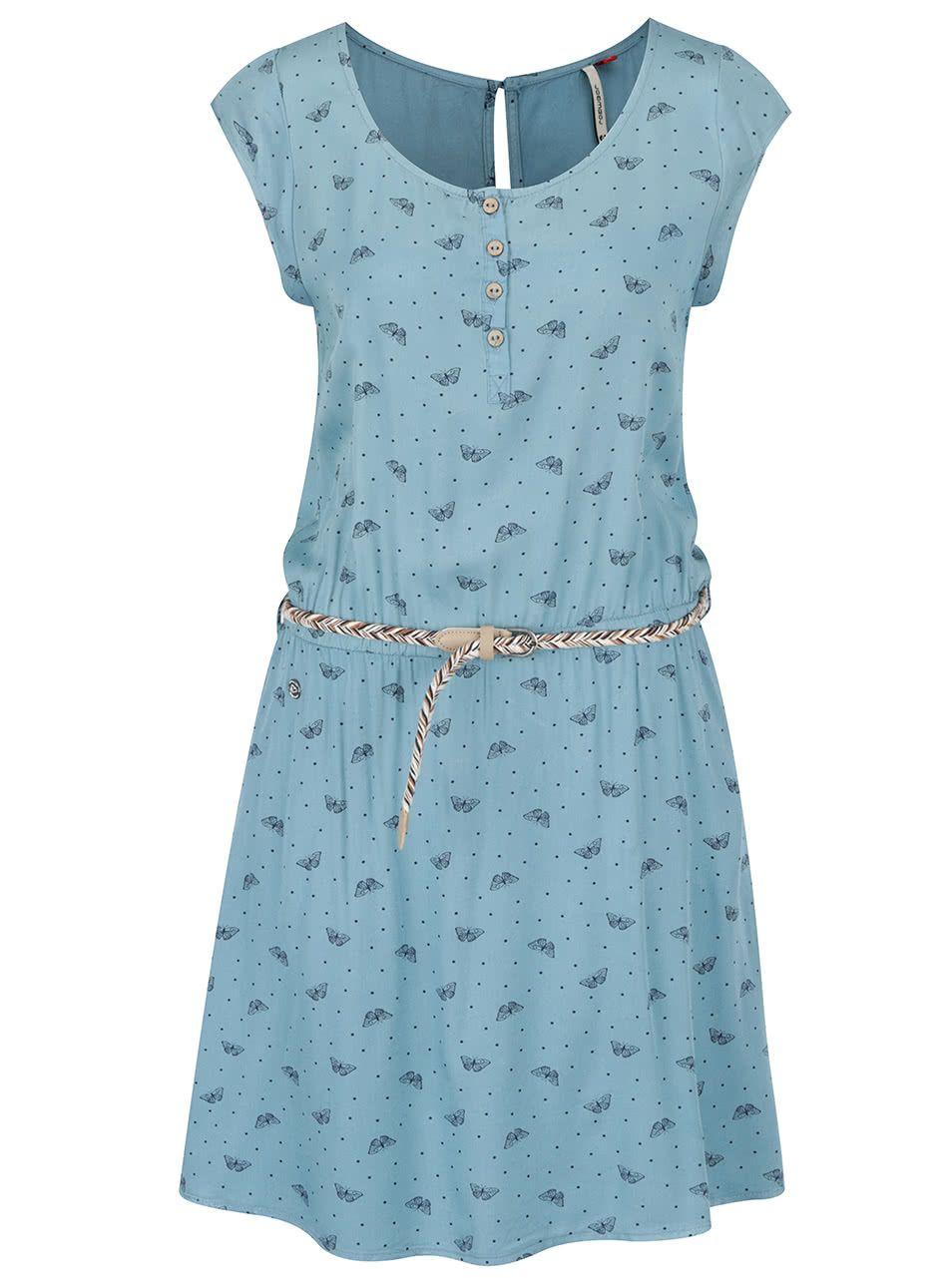 5c9fe9af3242 Modré vzorované šaty s páskem Ragwear Zephie