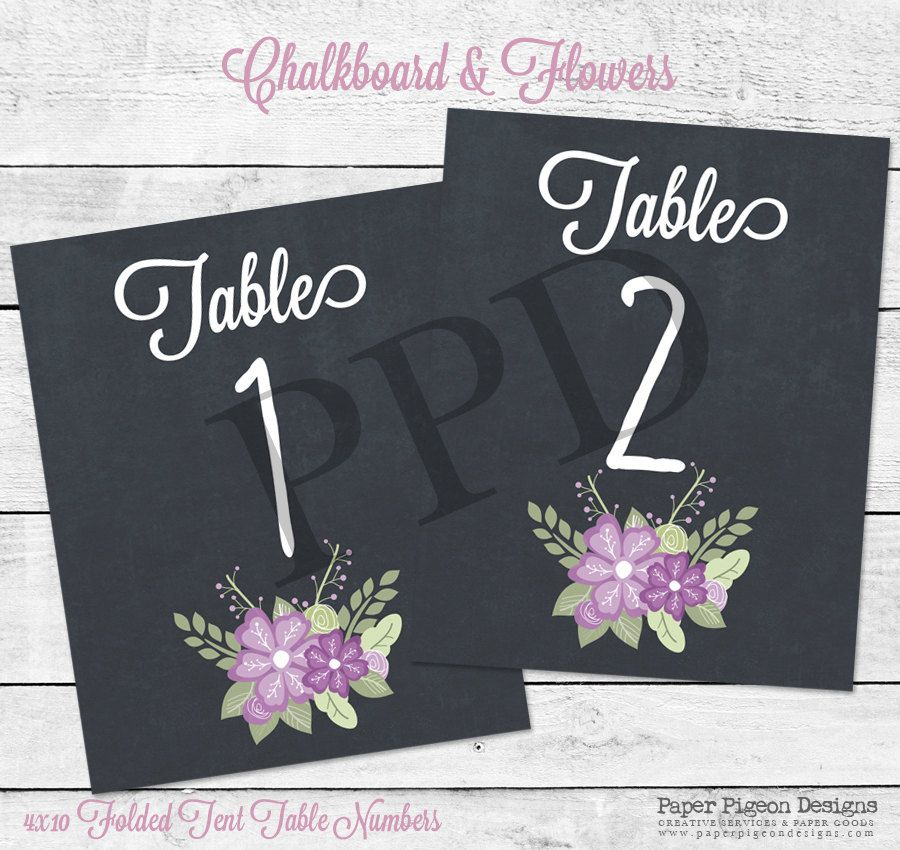 Chalkboard and Flowers Table Numbers - Printable Table Numbers - Tent Table Cards - DIY Wedding Table Numbers - Chalkboard Wedding Pieces & Chalkboard and Flowers Table Numbers - Printable Table Numbers ...