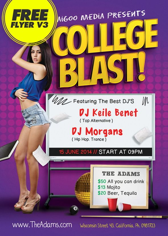 college Blast Club Party Flyer psd Pinterest Free psd flyer
