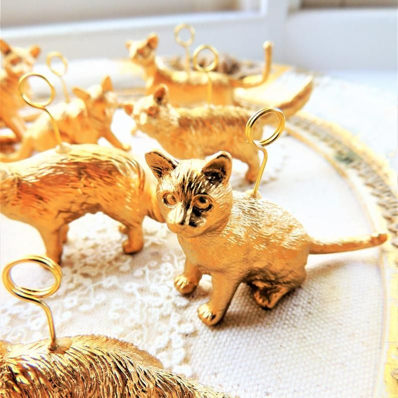 cat place card holders gold silver animal wedding unique