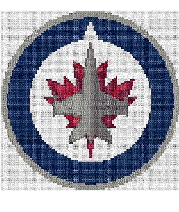Counted Cross Stitch Pattern Winnipeg Jets NHL Logo by dueamici