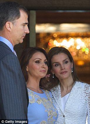 The three were joined by Carlos' wife, Queen Sophia, Felipe's wife, Letizia, and Nieto's w...