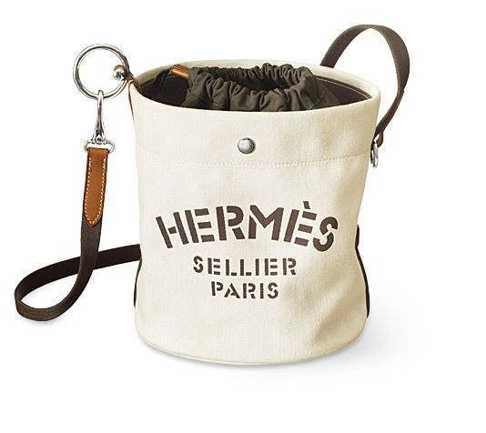 b3c75a8e52e3 Fourre Tout Hermes grooming bag Chalk chevron canvas and gold barenia  calfskin Removable inside basket