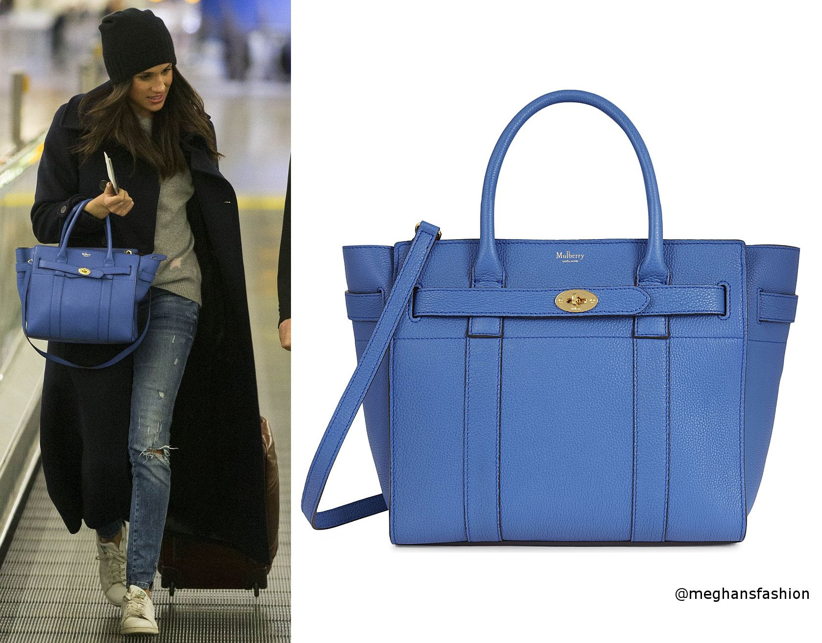 109bb8c1e2d Mulberry Porcelain Blue Small Zipped Bayswater Leather Bag aso Meghan Markle