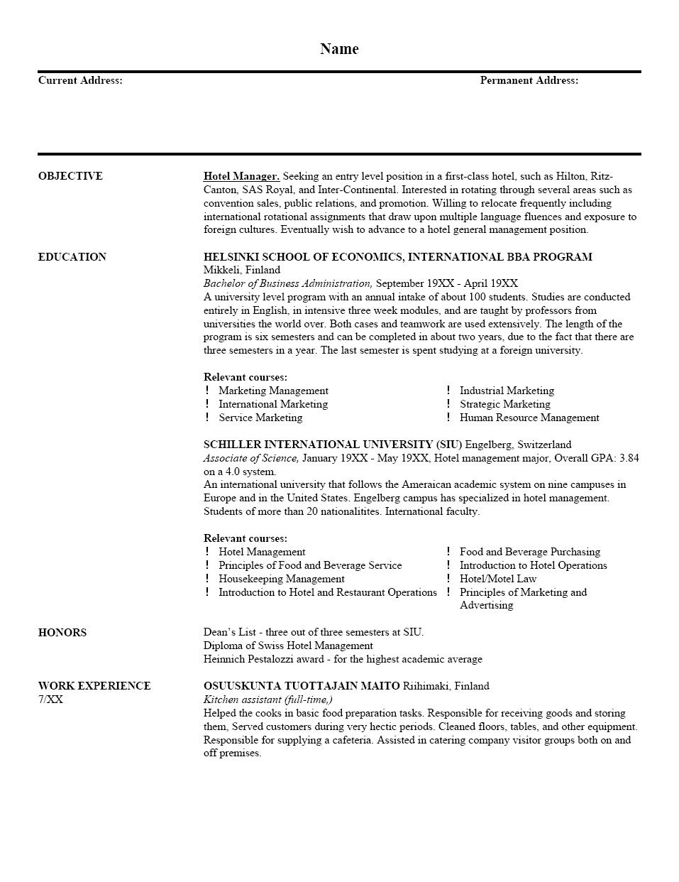 Free Examples Of Resume Template Sample Resume Templates Cover Letter For Resume Resume Writing Examples