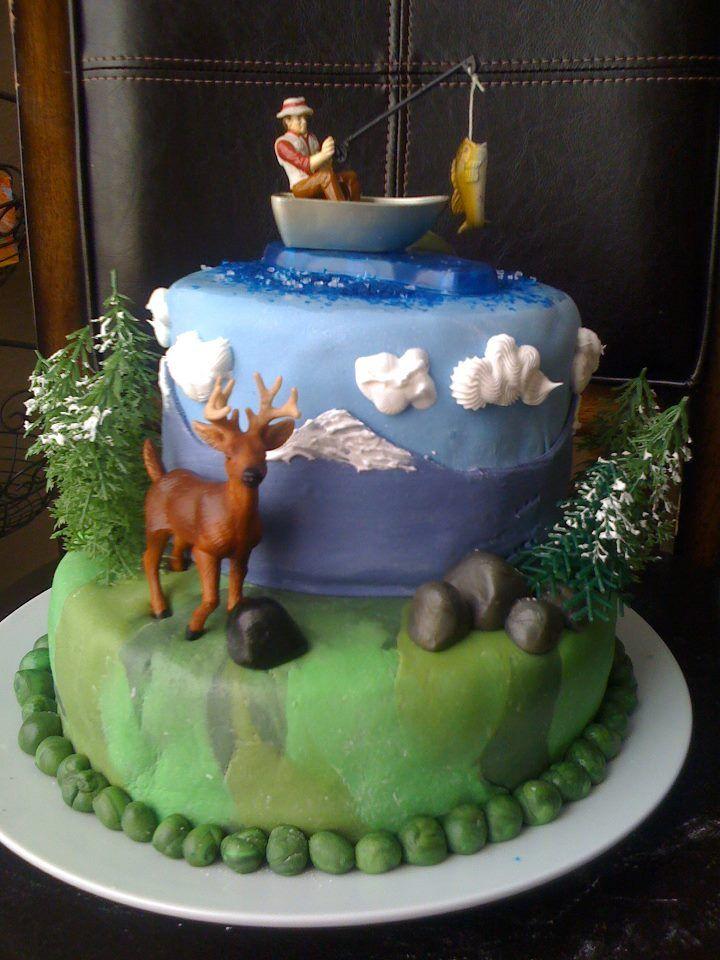Hunting fishing cake 50th birthday pinterest fish for Fish cake design