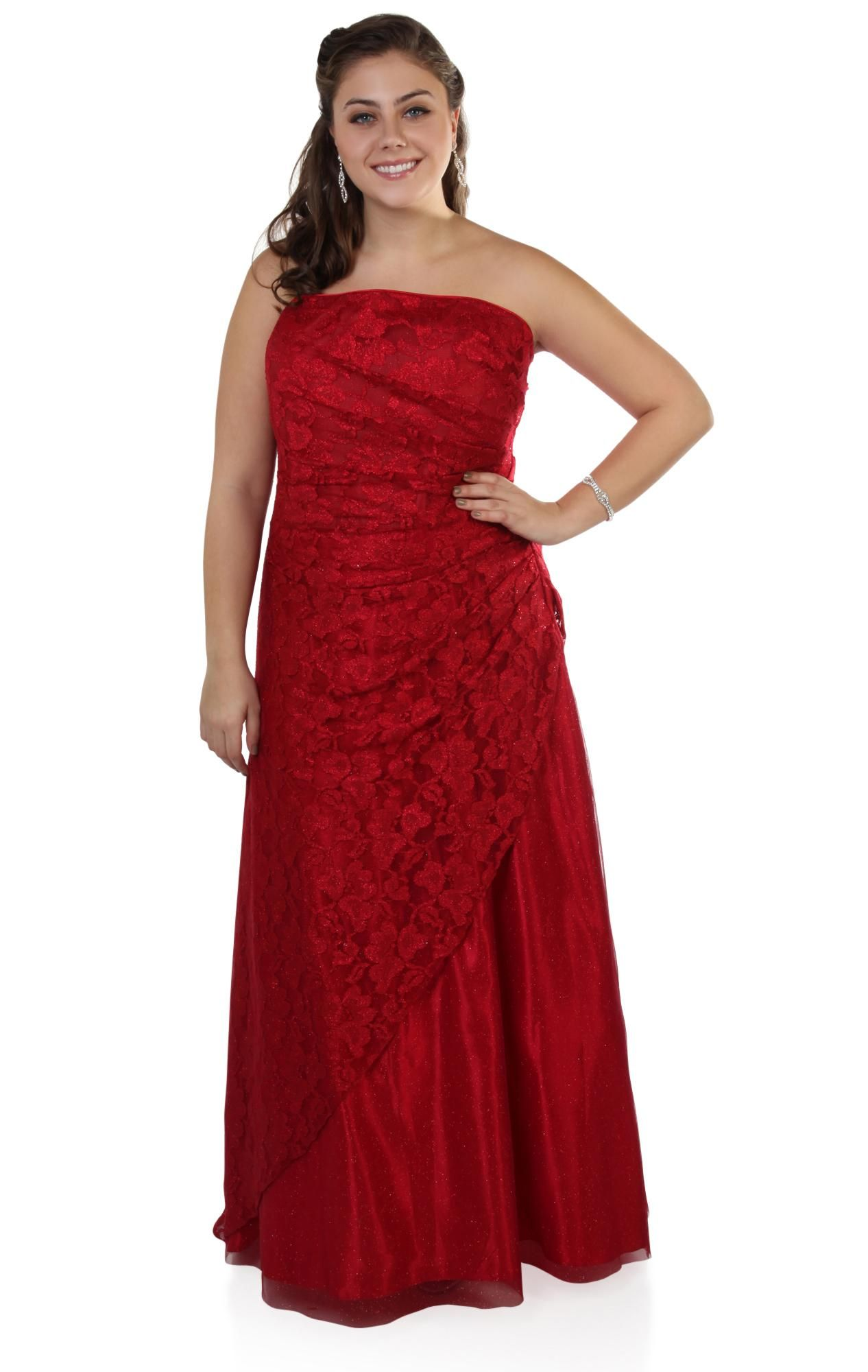 Deb shops plus size strapless red glitter lace long prom dress