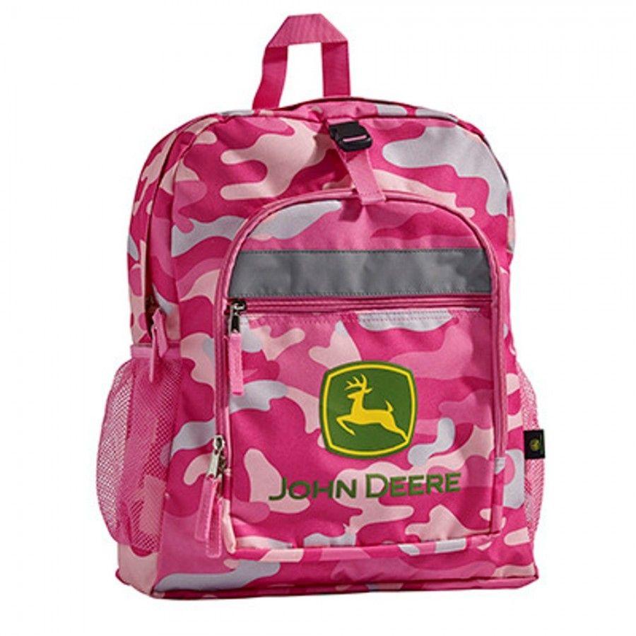 John Deere Girls Pink Camo Backpack | RunGreen.com | Hair ...