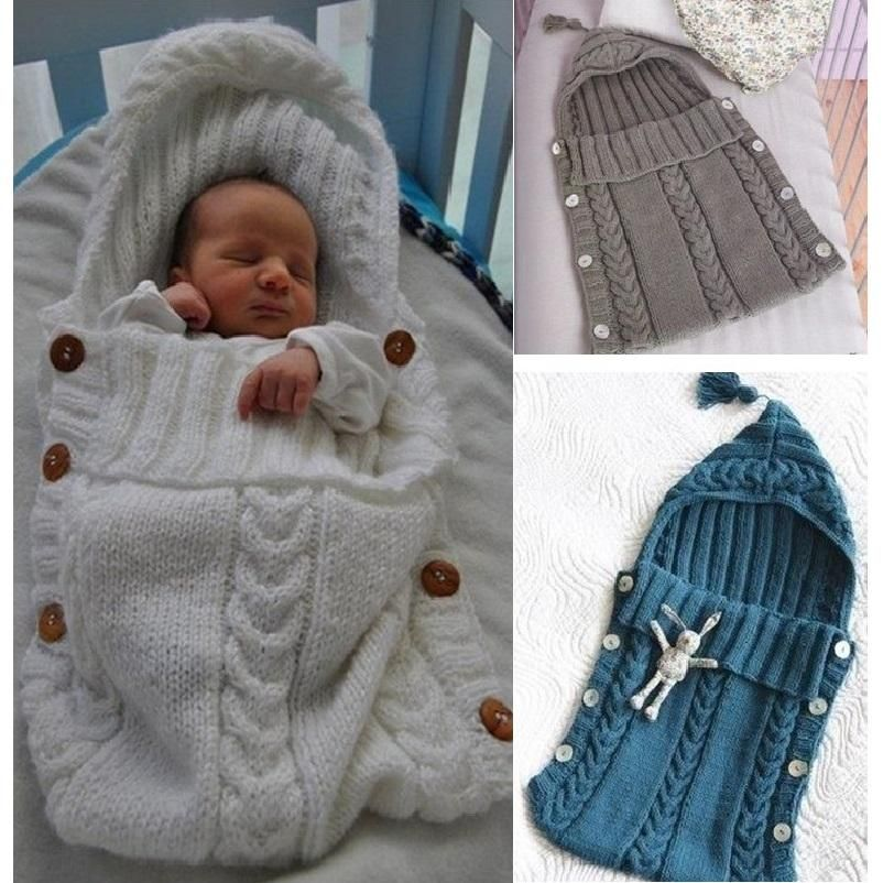 bc5b05e911a1 Baby Swaddle Wrap Warm Wool Crochet Knitted Newborn Infant Sleeping ...