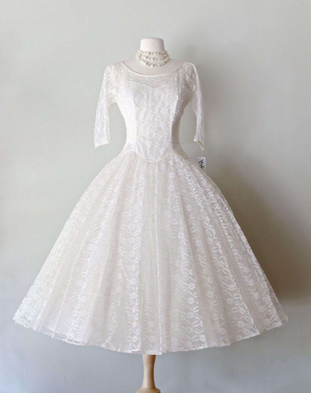 Vintage 1950s Tea Length Lace Wedding Dress