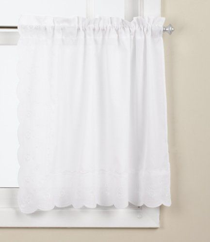 Lorraine Home Fashions Candlewick Tier Curtain Pair 60 By 24 Inch White