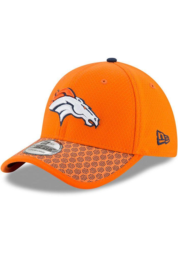 a2d77bc38259e6 New Era Denver Broncos Mens Orange 2017 Official Sideline Flex Hat - 5903669