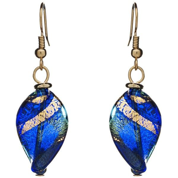 Martick Twist Murano Glass Drop Earrings, Blue/Gold (1 155 UAH) ❤ liked on Polyvore featuring jewelry, earrings, gold jewelry, swirl earrings, gold jewellery, murano glass jewelry and yellow gold earrings