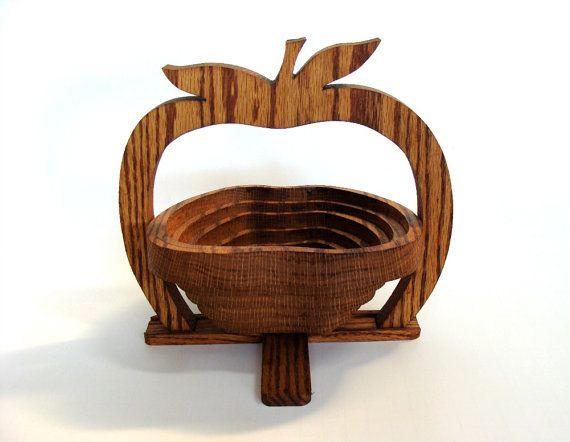 Collapsible Wooden Apple Basket Wood Apple Bowl Fruit Bowl
