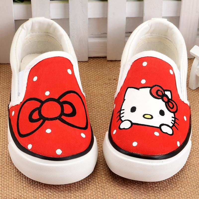 Bhwyfc Kids Shoes Casual Canvas Hello Kitty Cute Pink Hand Painted Shoes Girls Cartoon Breathable Absorbent Flat Low G Painted Shoes Cartoon Shoes Girl Cartoon