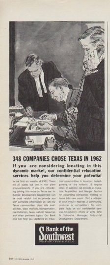 1963 Bank Of The Southwest Vintage Ad 348 Companies Chose Texas