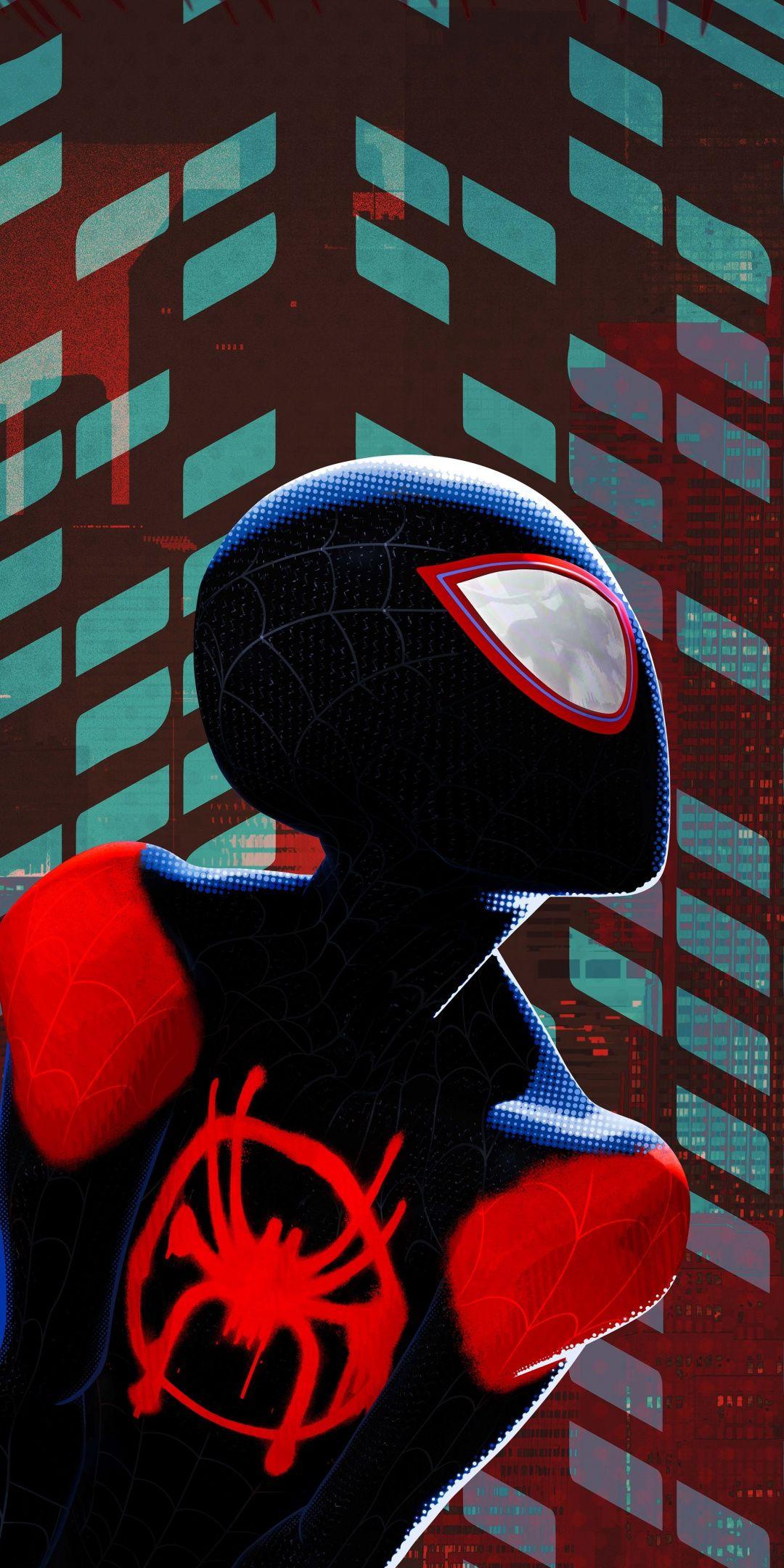 Miles Morales Black Suit Spider Man Into The Spider Verse 1080x2160 Wallpaper Spiderman Marvel Comics Wallpaper Spiderman Artwork