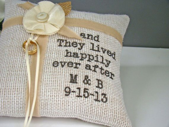 Personalized Burlap Ring Bearer Pillow Rustic Wedding Country