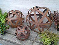 Riss Kugel Edelrost 30-50 cm Rost Gartendeko Rostdeko Deko Garten Metallkugel