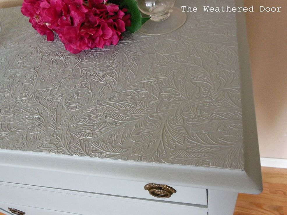 Use Paintable Wallpaper To Cover Ruined Furniture Tops Paintable Wallpaper Wallpaper Furniture Restoring Old Furniture