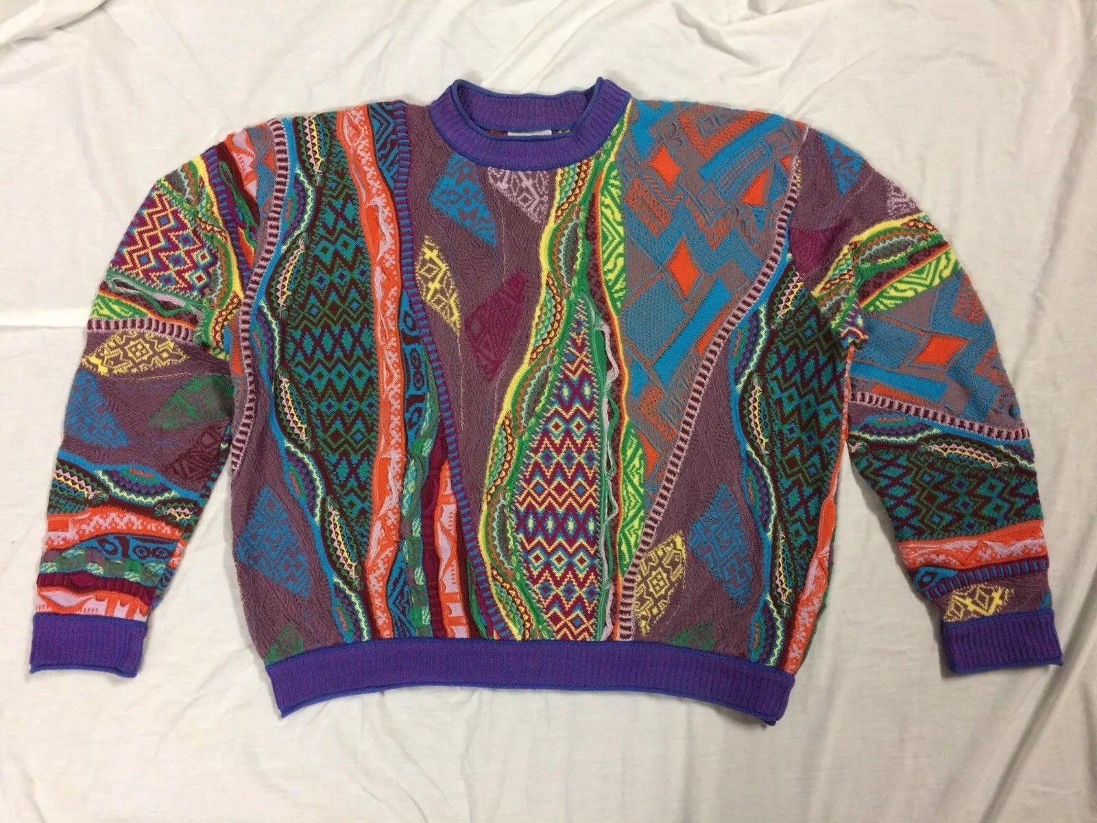 bcb25ef57f7 RARE 90s Vtg COOGI Australia NEON BIGGIE MCGREGOR Sweater L VAPORWAVE
