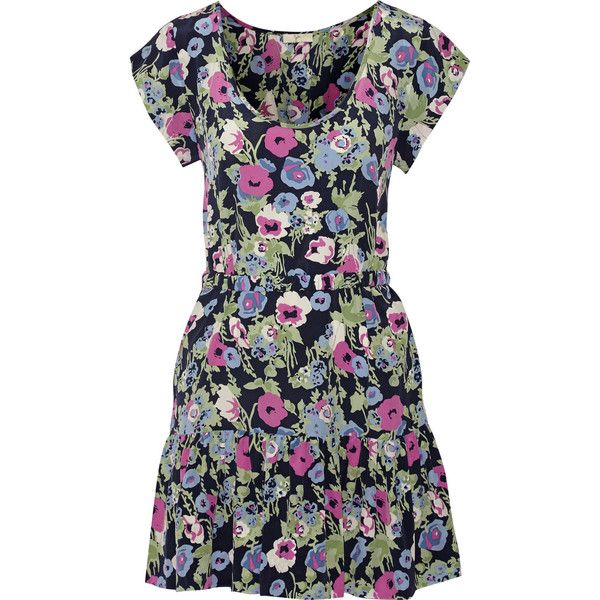 Joie Belinda floral-print silk mini dress ($169) ❤ liked on Polyvore featuring dresses, navy, navy blue short dress, short floral dresses, navy dress, loose dress and floral dress