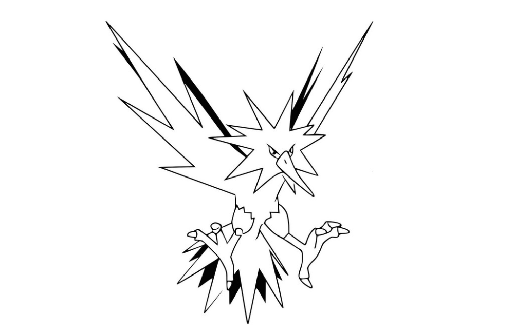 Best Zapdos Legendary Pokemon Coloring Page Printable Pokemon Zapdos Coloring Book Sheet To Print Fre Pokemon Coloring Pages Pokemon Coloring Coloring For Kids