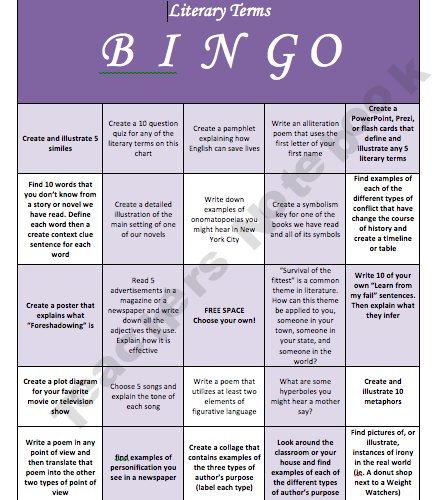 Literary Bingo Literacy Pinterest Teacher Notebook Literary