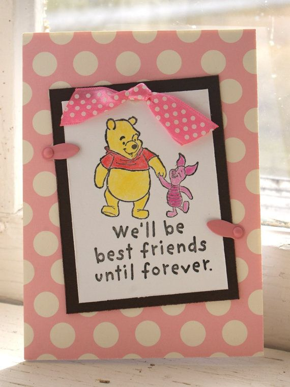Pink N Brown Winnie The Pooh Friends Forever By Sendasong 3 00 Cool Birthday Cards Birthday Cards For Friends Birthday Cards Images