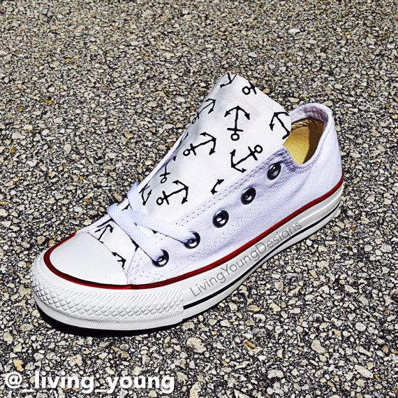 fee93617f7af Anchor Converse Low Top Sneakers Custom White Chuck Taylors