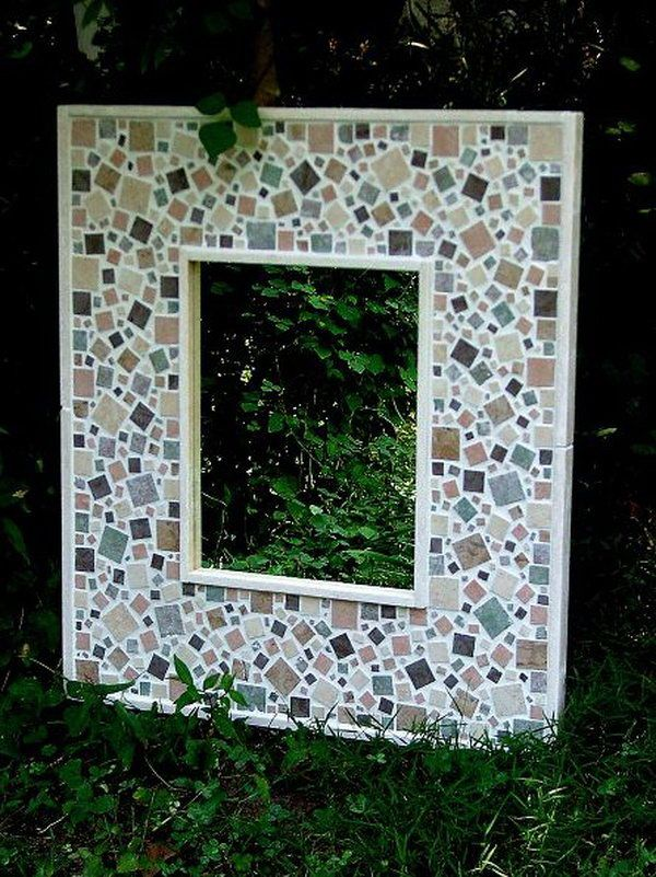 Decorative Mosaic Mirrors In The Garden Created From Ceramic Tiles, Glass  And Hand Made Concrete Leaves.   Crafty   Pinterest   Concrete Leaves, ...