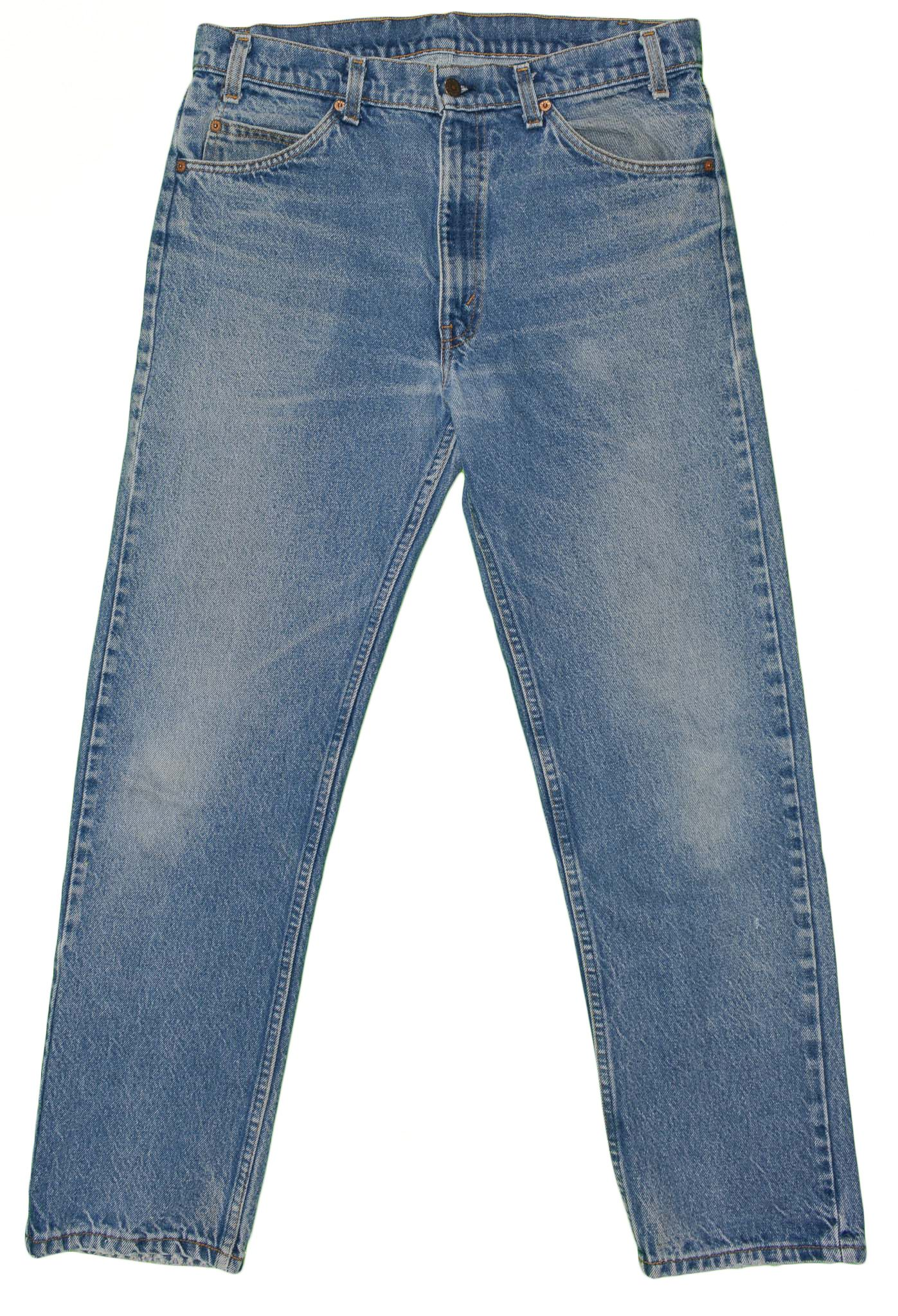 69aad2fbc39 Vintage Levis 505 Denim Jeans Men's 35x31 Talon 42 Zip 80's Made USA Orange  Tab #