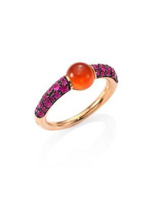 POMELLATO M'ama Non M'ama Pink Sapphire, Hessonite Garnet & 18K Rose Gold Ring. #pomellato #ring