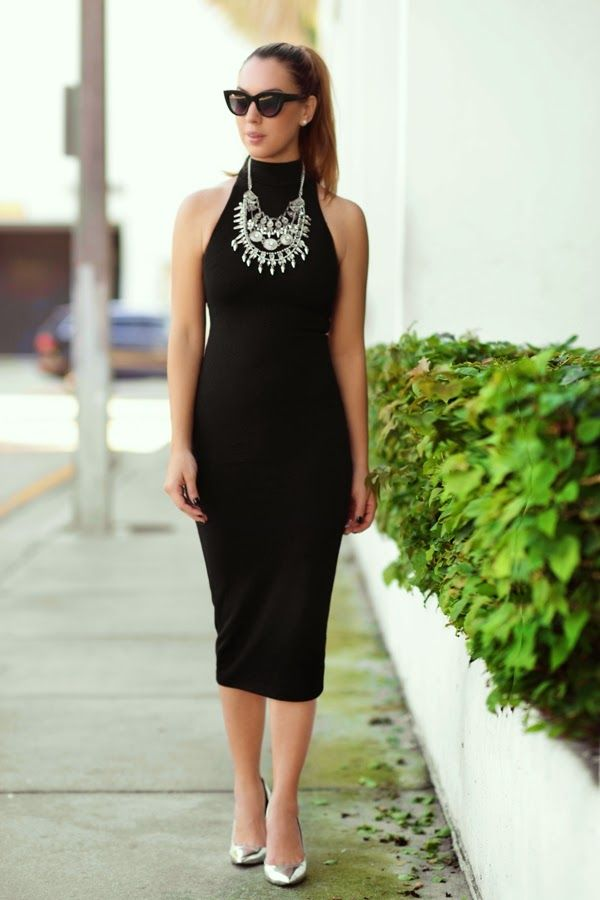 Midi winter turtle neck dress with a statement necklace