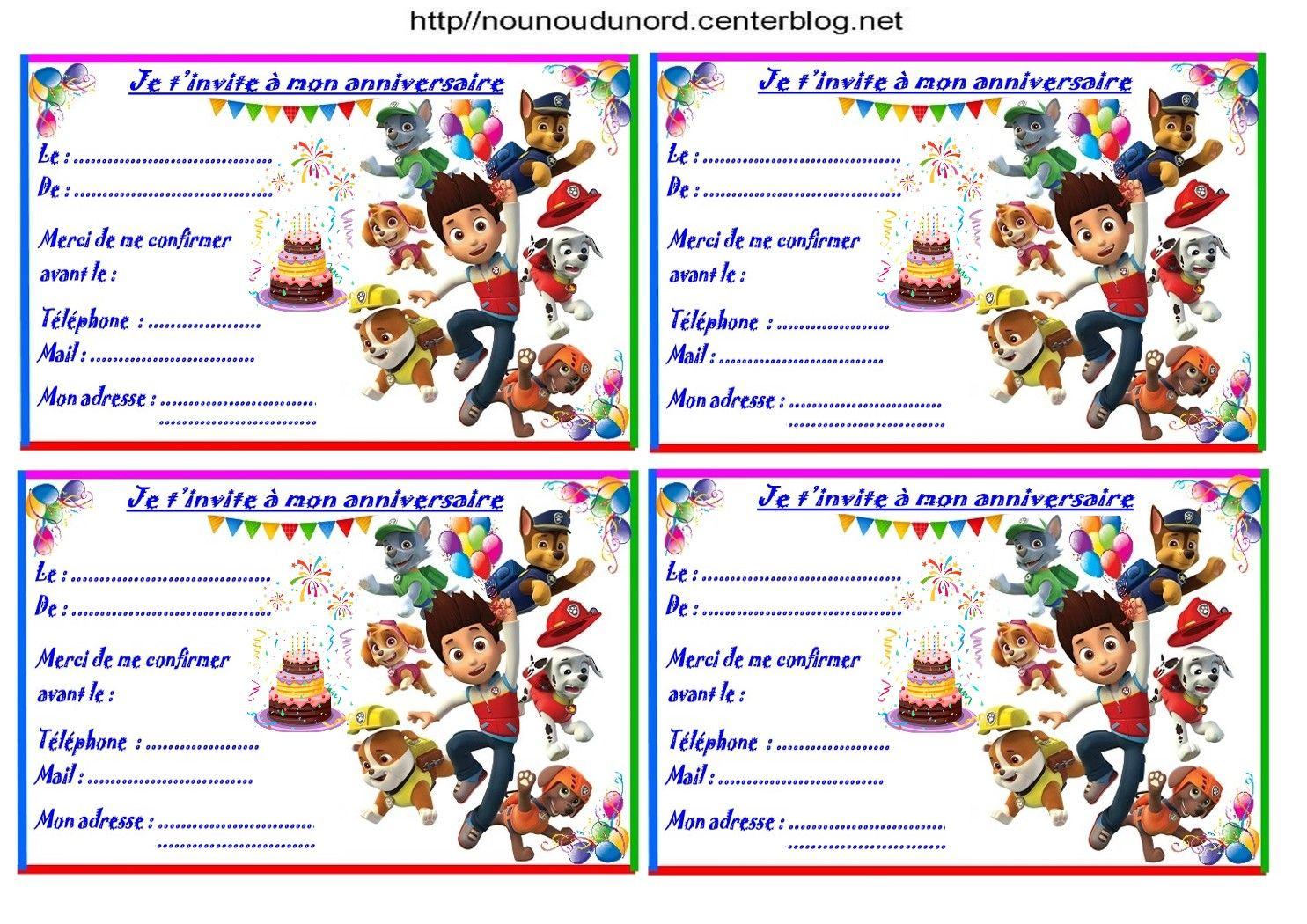 Etiquettes et invitations pat patrouille pour anniversaire - Pat patrouille telecharger ...