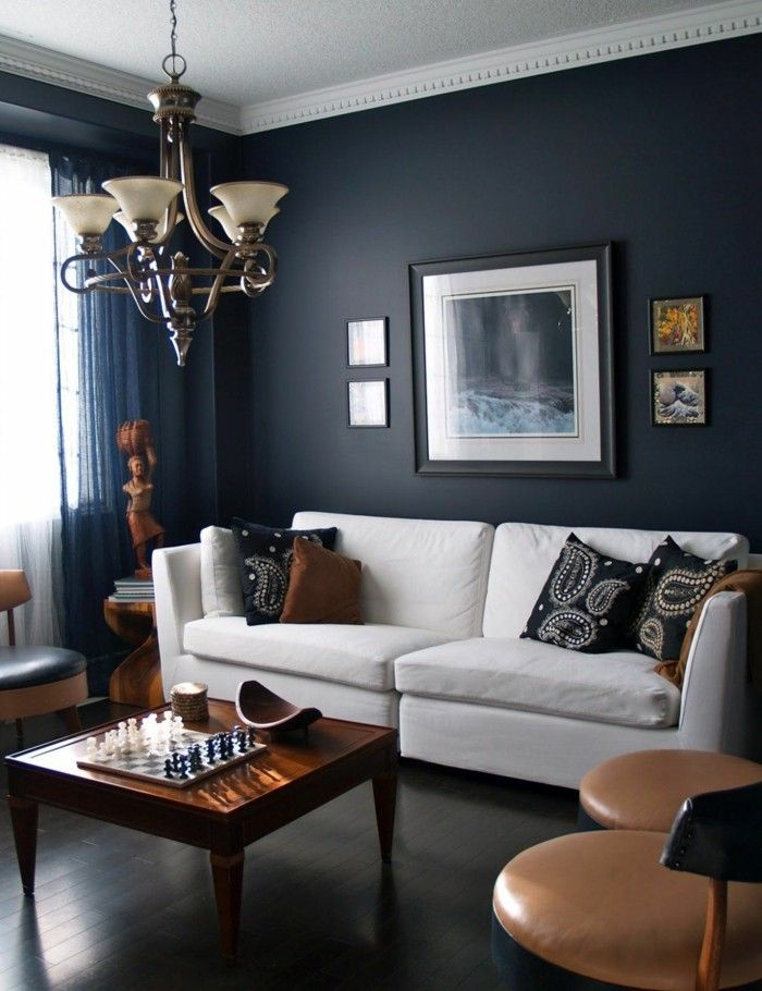 wohnideen wohnzimmer dunkelgraue wände und weißes wohnzimmersofa - wohnideen wohnzimmer farbe