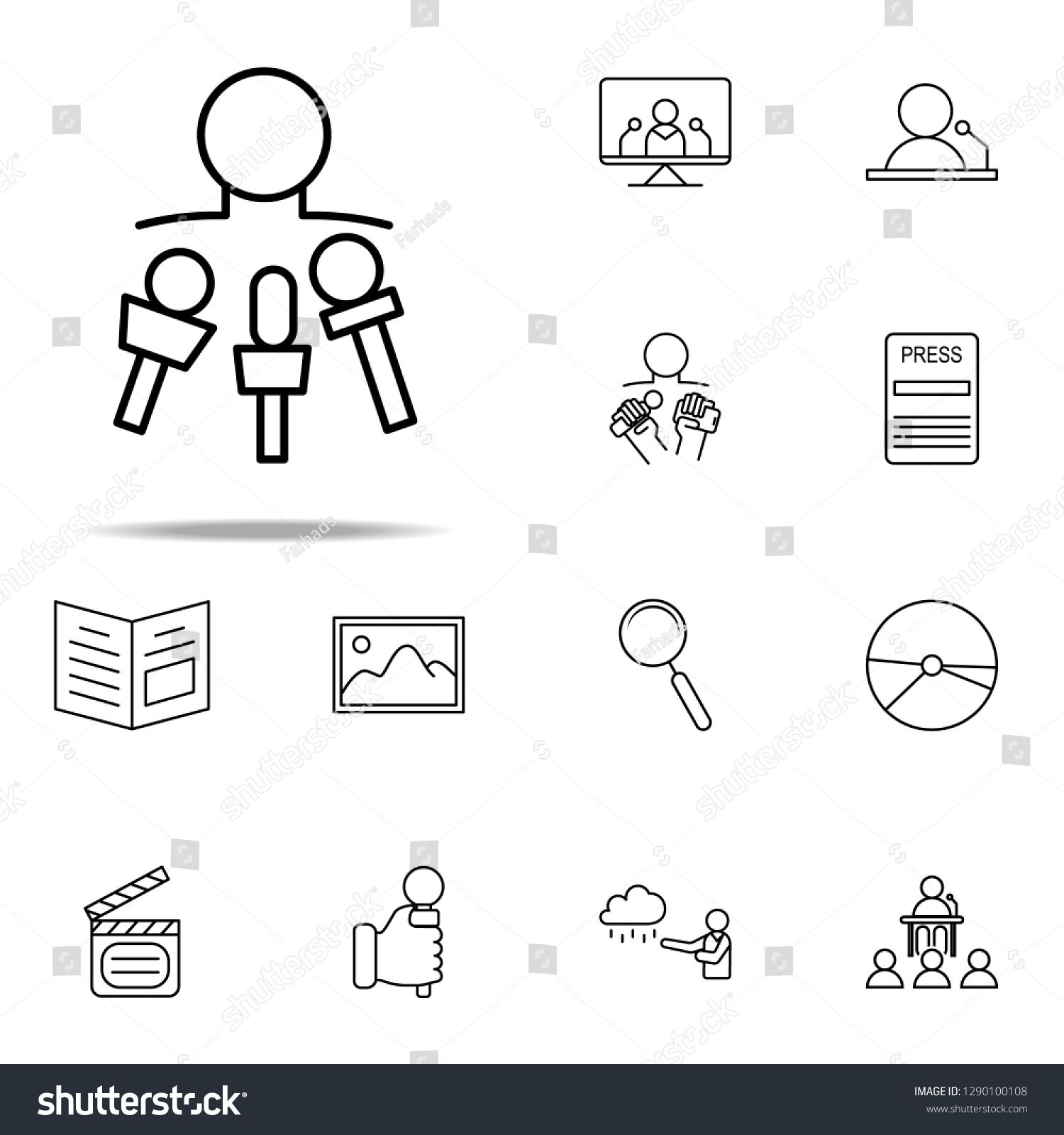 To Interview Icon Media Press Icons Universal Set For Web And Mobile Sponsored Ad Media Press Interview Icon Typography Photos For Sale Typeface