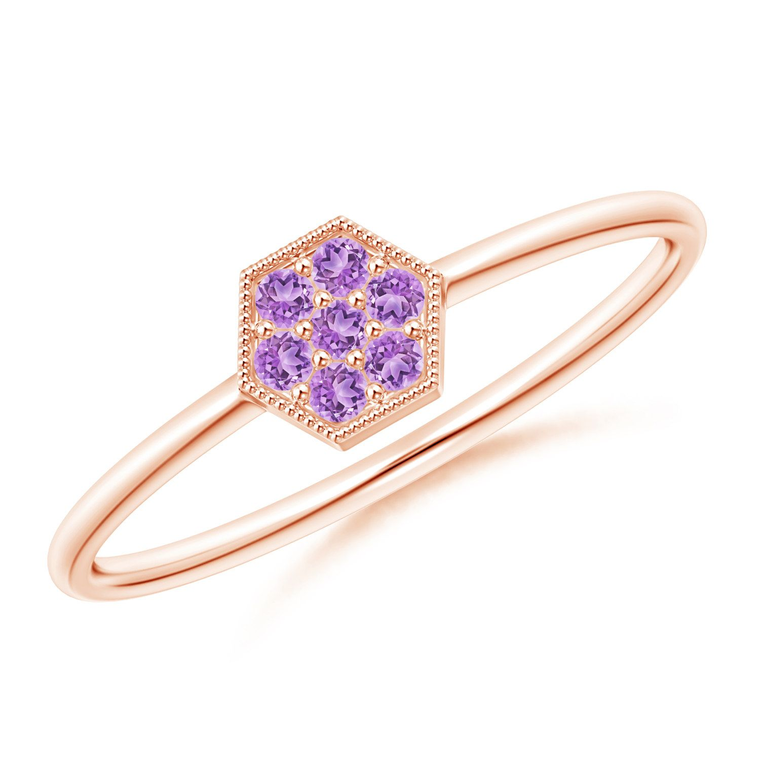 Angara Natural Amethyst Solitaire Ring in Rose Gold ZzQYq1eAZV