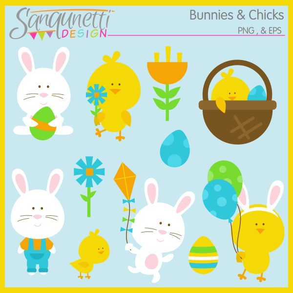 Easter Bunny And Friends Clipart  Great For Greeting Cards Party