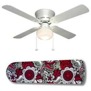 Sabrina Red Black 42 Ceiling Fan And Lamp 1 Of 1 Ceiling Fan