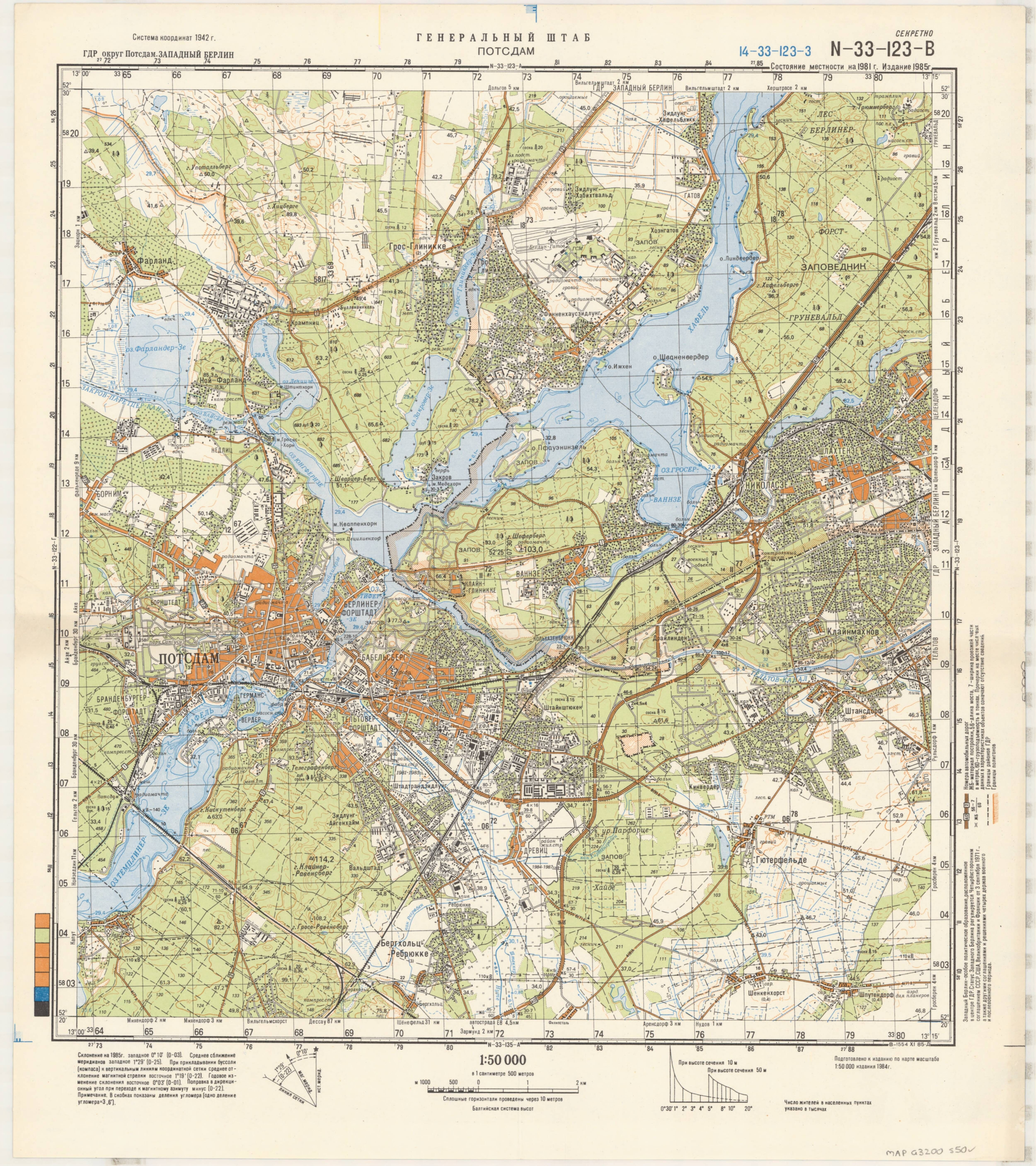1985 soviet military topographic map of potsdam germany