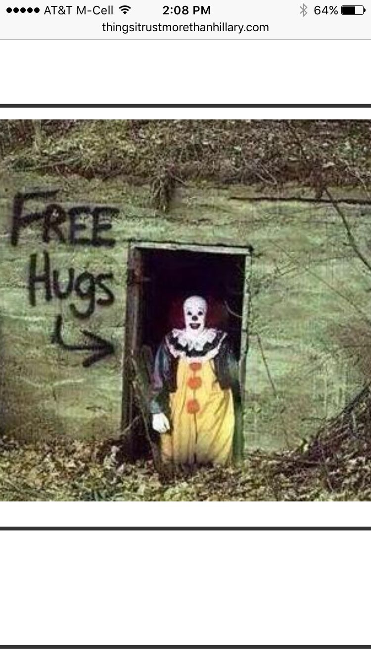 56b3af45db8da60abb70e32f47b463d2 things i trust more than hillary free hugs from pennywise the