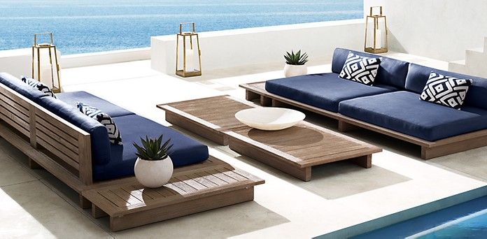 Maldives Weathered Grey Teak Comfortable Patio Furniture Terrace Furniture Modern Outdoor Furniture