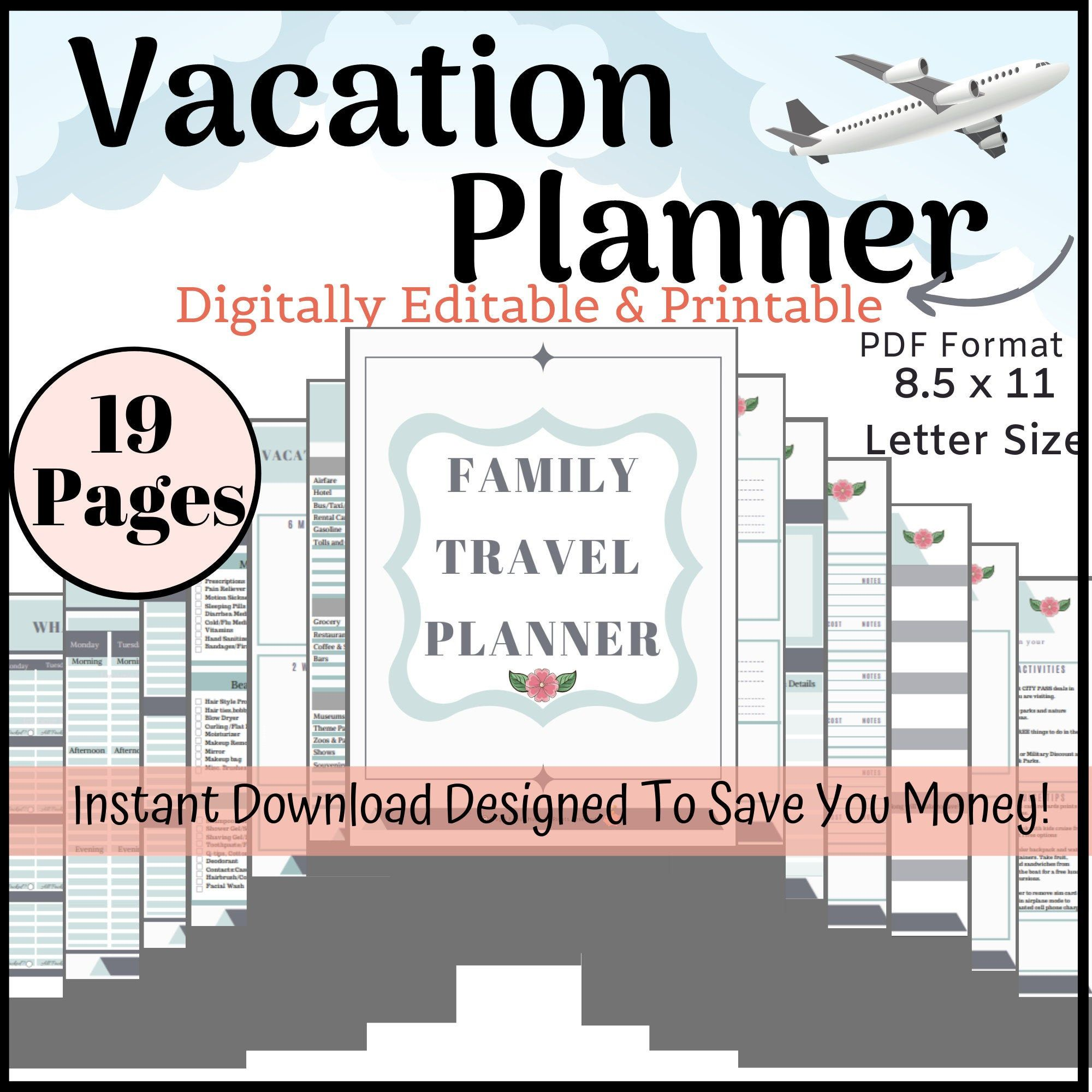 Editable Vacation Planner Family Planner Trip Planner