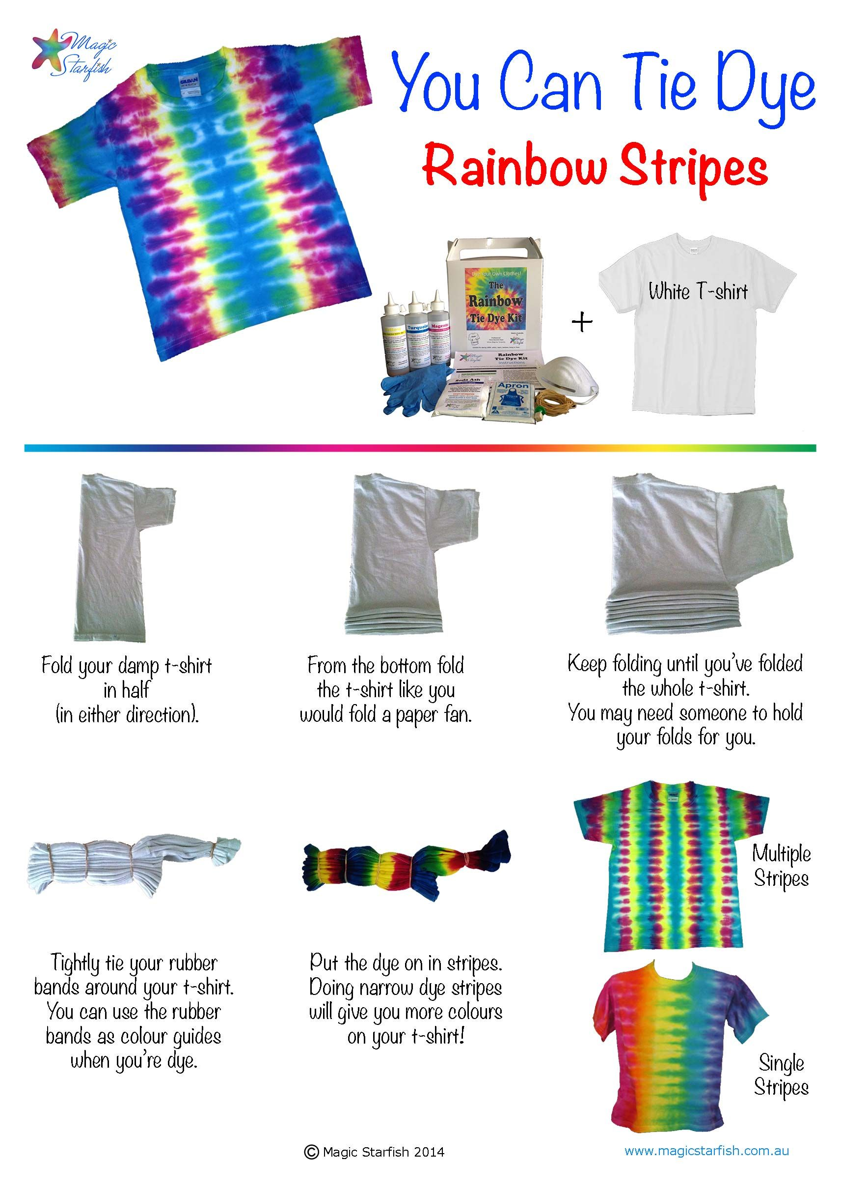Magic Starfish Rainbow Stripes Instructions Jpg 1713 2422 Tie Dye Folding Techniques Tie Dye Kit Diy Tie Dye Shirts