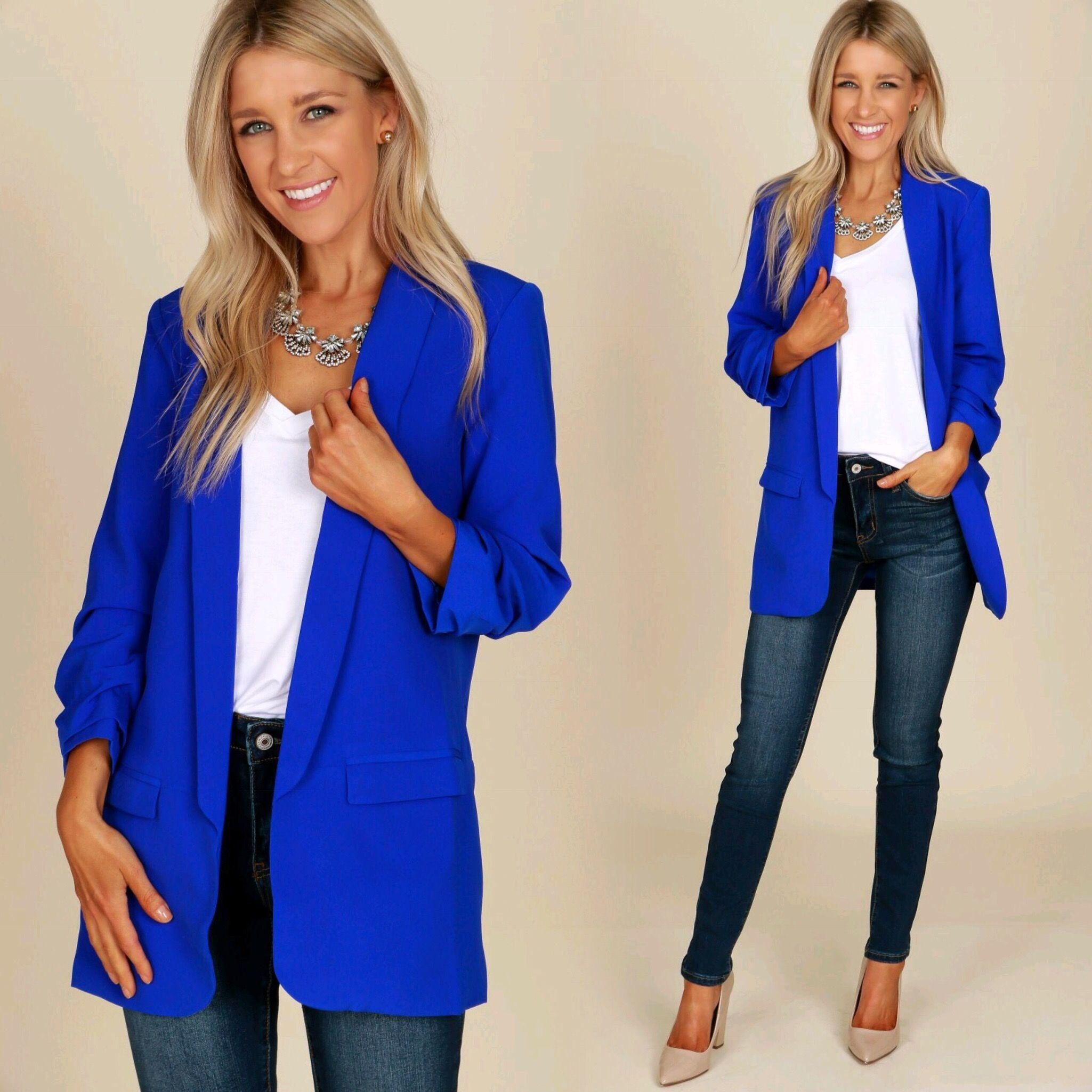 boyfriend blazer royal 45  blue jackets outfits blue